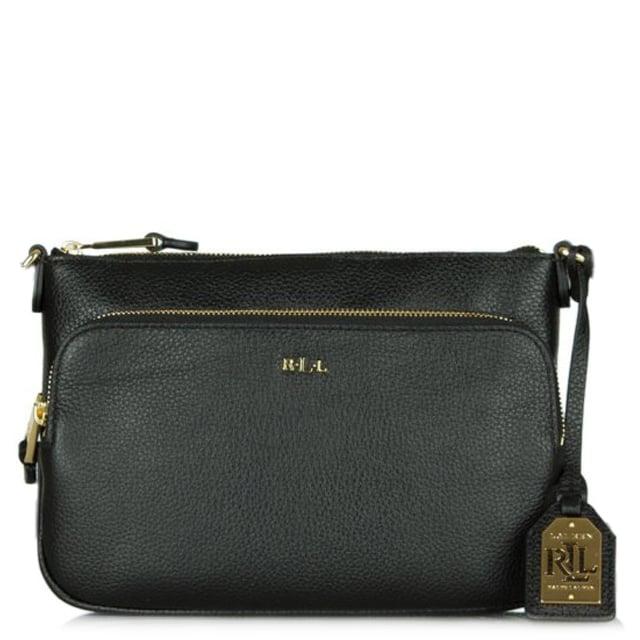 af82d5b29cb2 Lauren By Ralph Lauren Harrington Black Leather Cross-Body Bag