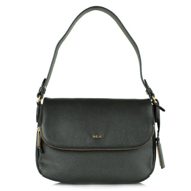 4f942ee965a7 Lauren By Ralph Lauren Harrington Black Leather Shoulder Bag