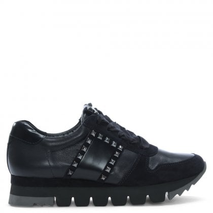 Harris Navy Leather Studded Trainers