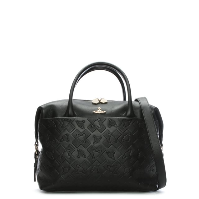 Harrow Black Leather Embossed Orb Day Bag