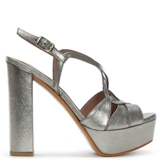 Hasdo Pewter Leather Platform Sandals
