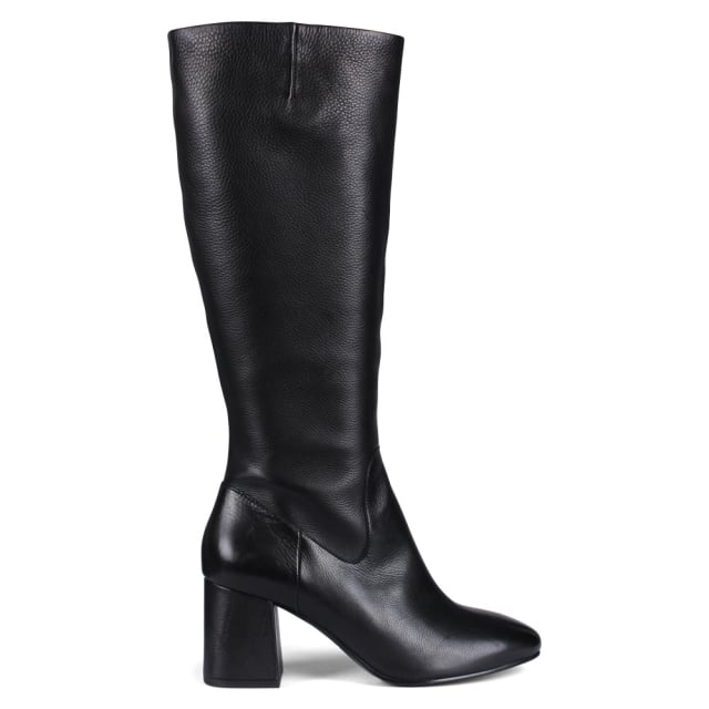 Hashley Black Leather Knee Boots