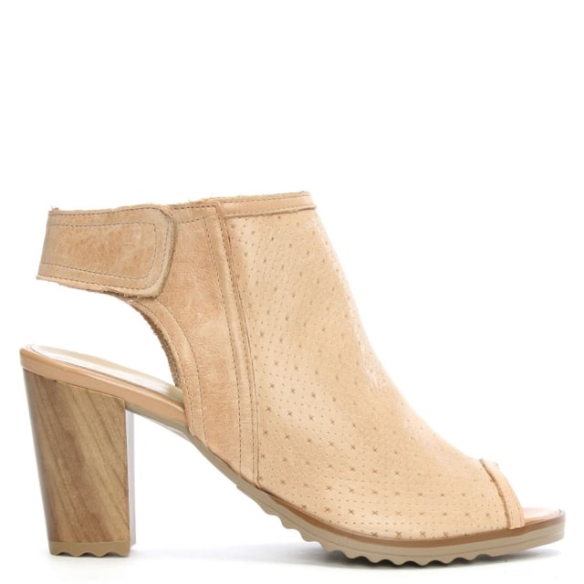 Haswell Beige Leather Sling Back Block Heel Sandal