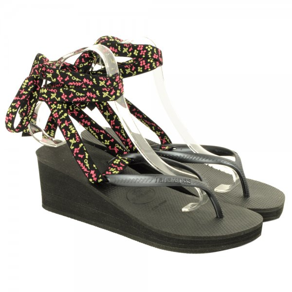6312bed623ac Havaianas Black Cyclone Women s Wedge Sandal