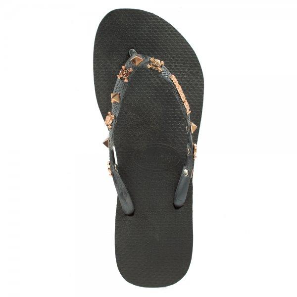 2898441c9 Havaianas Black Slim Hardware Women s Flip Flop