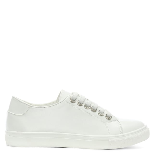 Hawley White Jewelled Eyelet Sneakers