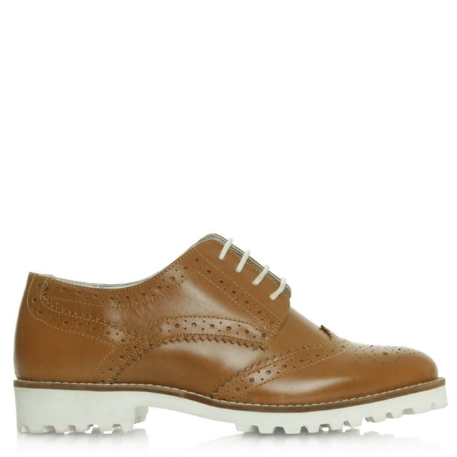 Haxby Tan Leather White Sole Brogue