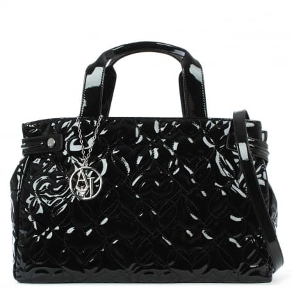 Heart Black Patent Shopper