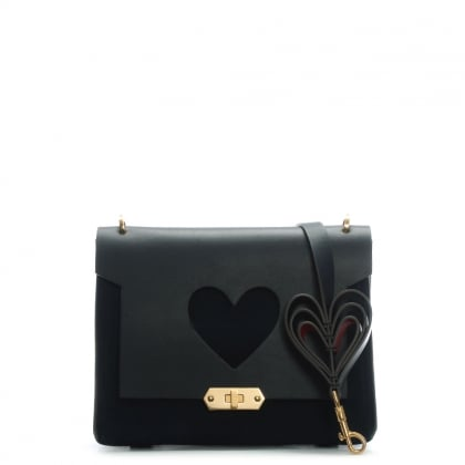 Heart Navy Leather XS Bathurst Satchel Bag