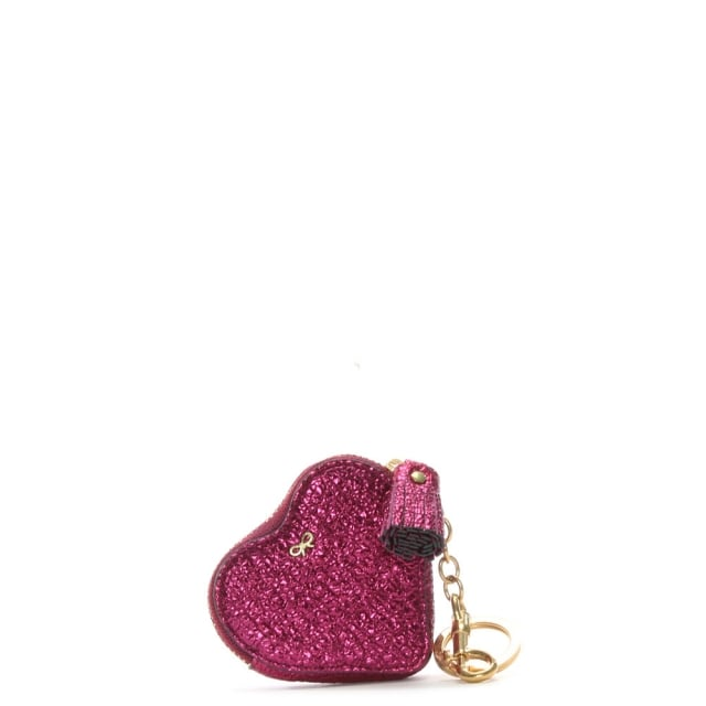 Heart Pink Metallic Leather Coin Purse