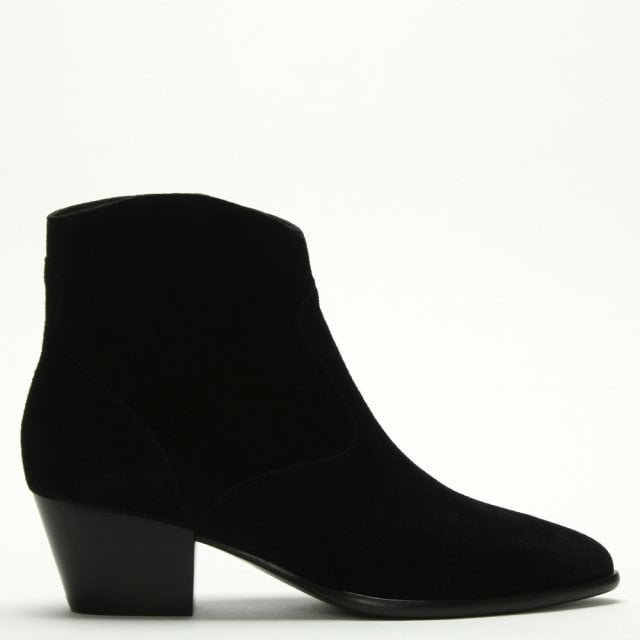 e2ff7066797 Heidi Bis Black Suede Western Ankle Boots