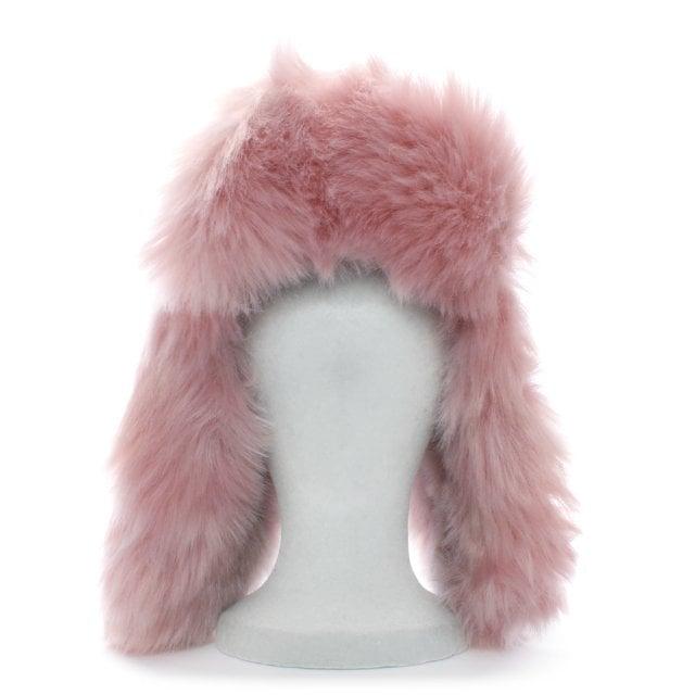 2112e08999f Charlotte Simone Helmet Head Pink Faux Fur Trapper Hat