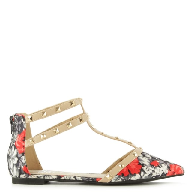 Helsby Multicoloured Floral Studded T Bar Pump