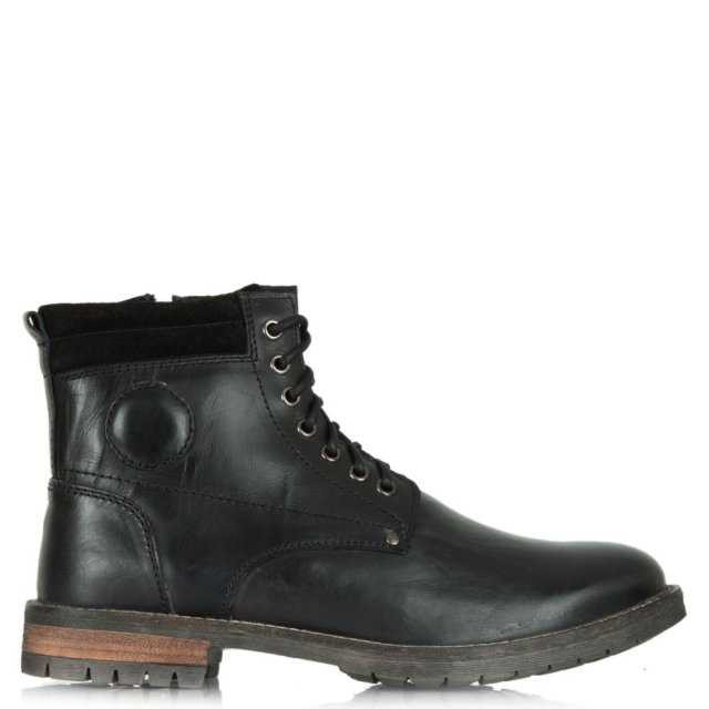 Hensall Black Chunky Lace Up Mens Boot