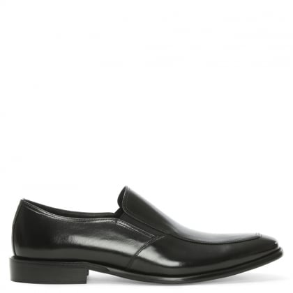 Henstridge Black Leather Plain Loafer