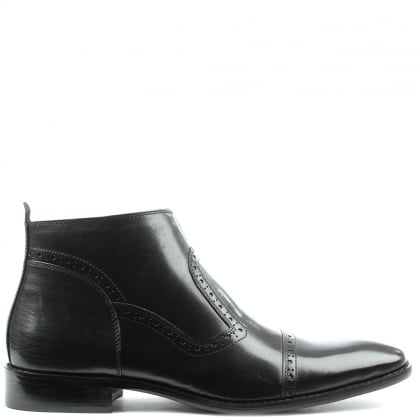 Hermitage Black Leather Hole Punch Ankle Boot