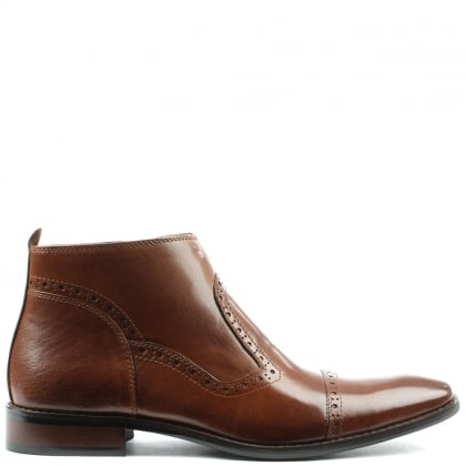 Hermitage Tan Leather Hole Punch Ankle Boot