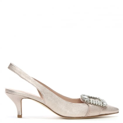 Hertz Pink Metallic Leather Kitten Heel Shoes