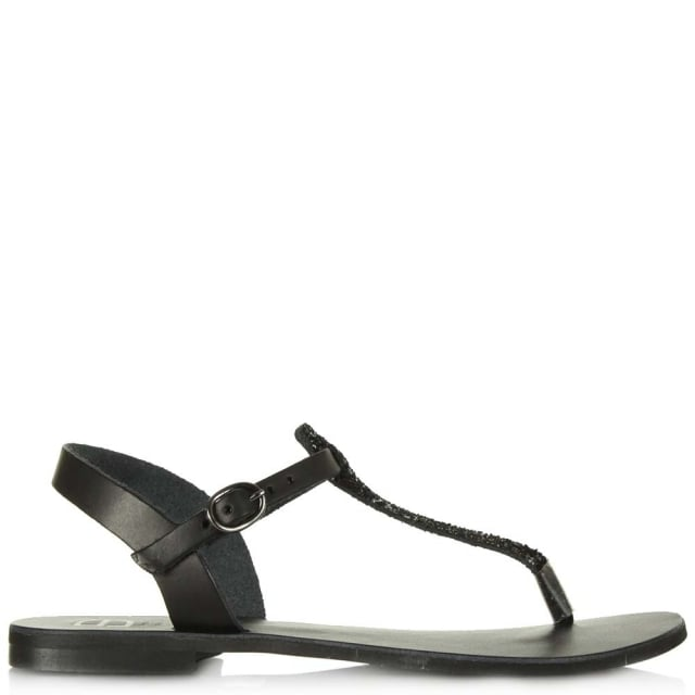 Hessay Black Leather Glitter T Bar Toe Post Sandal