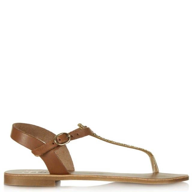 Hessay Tan Leather Glitter T Bar Toe Post Sandal