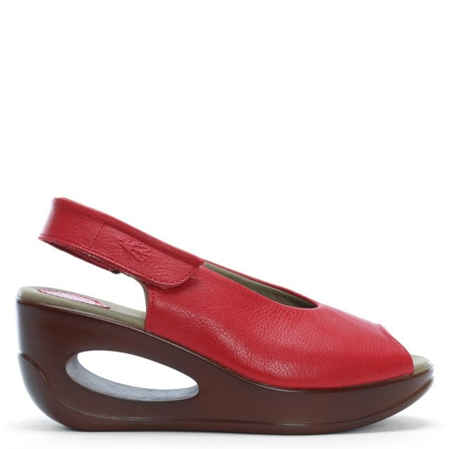 Hett Red Leather Sling Back Wedge Sandals