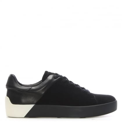 Hexham Black Suede Contrast Lace Up Trainers