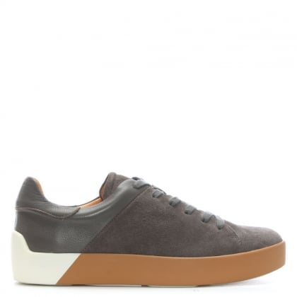 Hexham Grey Suede Contrast Lace Up Trainers