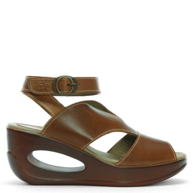 3f60728e8c6e7 Hibo Camel Leather Ankle Strap Wedge Sandals