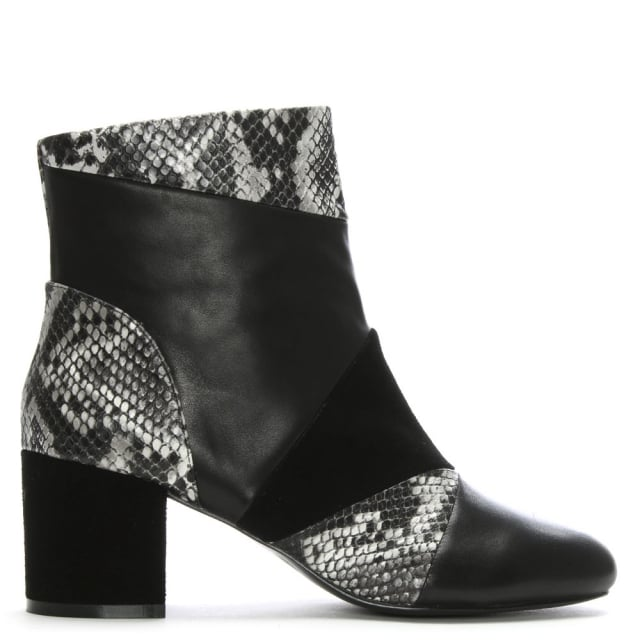 Shellys London High Barnet Black Leather & Suede Patchwork Ankle Boots