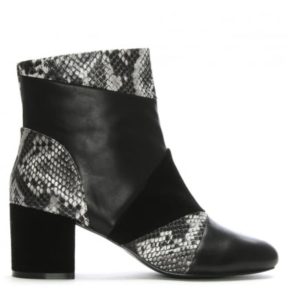 High Barnet Black Leather & Suede Patchwork Ankle Boots