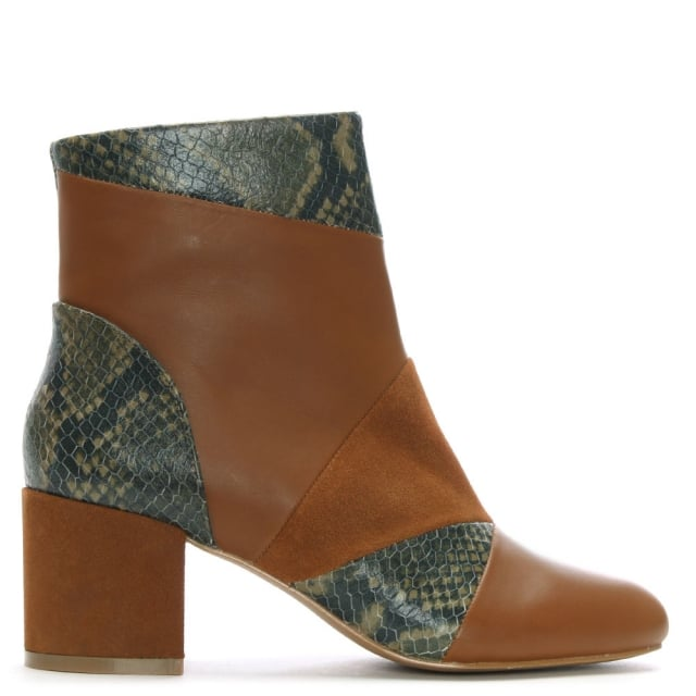 Shellys London High Barnet Tan Leather & Suede Patchwork Ankle Boots