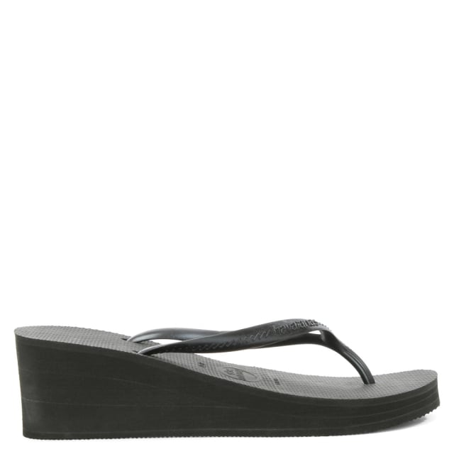 Havaianas High Fashion Black Wedge Toe Post Flip Flop