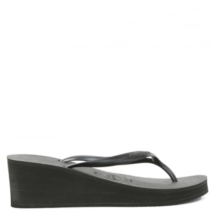 High Fashion Black Wedge Toe Post Flip Flop