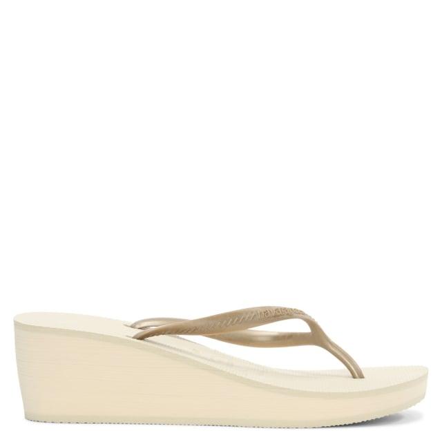 High Fashion Gold Metallic Wedge Toe Post Flip Flop