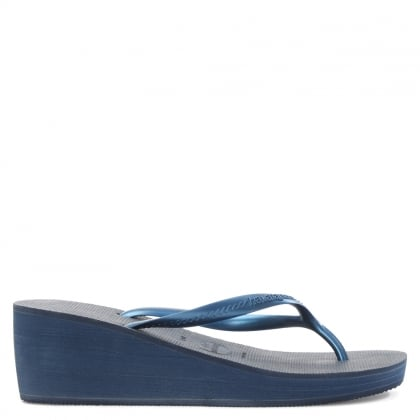 High Fashion Navy Wedge Toe Post Flip Flops