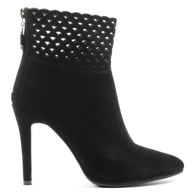 Highgrove Black Suede Perforated Ankle Boot
