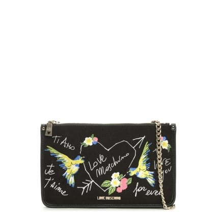 Highlands Black Printed Canvas Cross-Body Bag