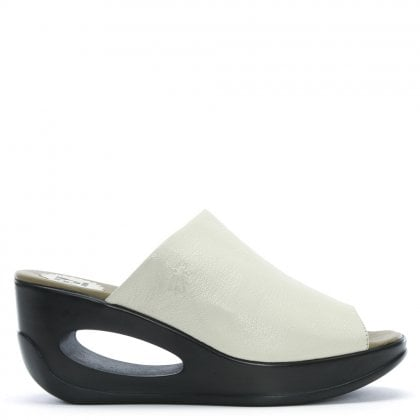 Hima White Leather Wedge Mules