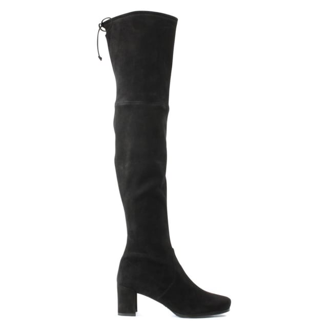Hinterland Black Suede Block Heel Over The Knee Boot
