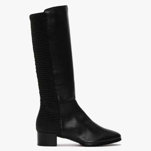 Hogl Bolini Black Leather Ruched Knee Boots