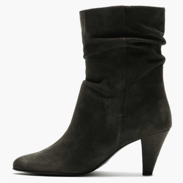 Hogl Fede Grey Suede Ruched Ankle Boots
