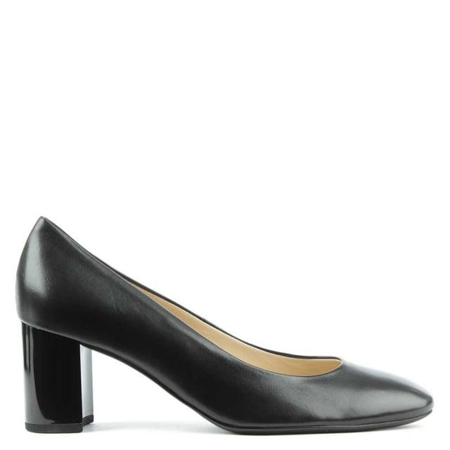 Hogl Mid Block Heel Black Leather Court