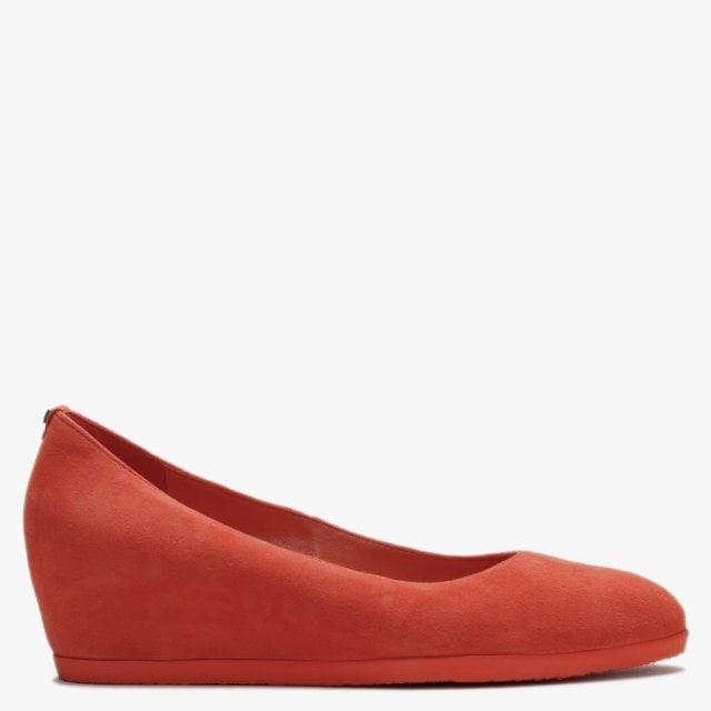 Hogl Rosy Orange Suede Wedge Court Shoes