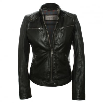 Hola Black Leather Biker Jacket