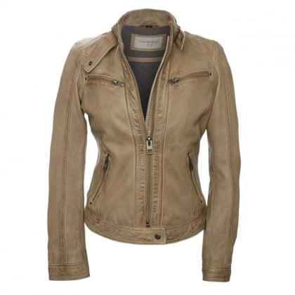 Hola Taupe Leather Biker Jacket