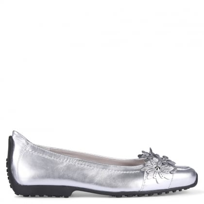 Holder Silver Leather Floral Motif Loafers