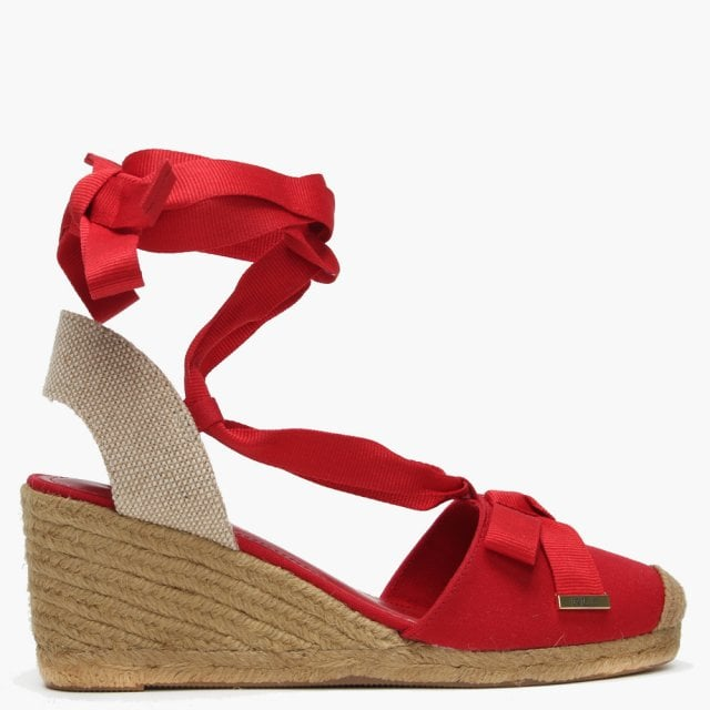 0e7b50ae14 Lauren Ralph Lauren Hollie Red Canvas Wedge Espadrilles