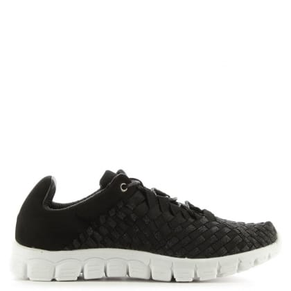 Hollywood Hills Black Fabric Woven Elastic Trainer