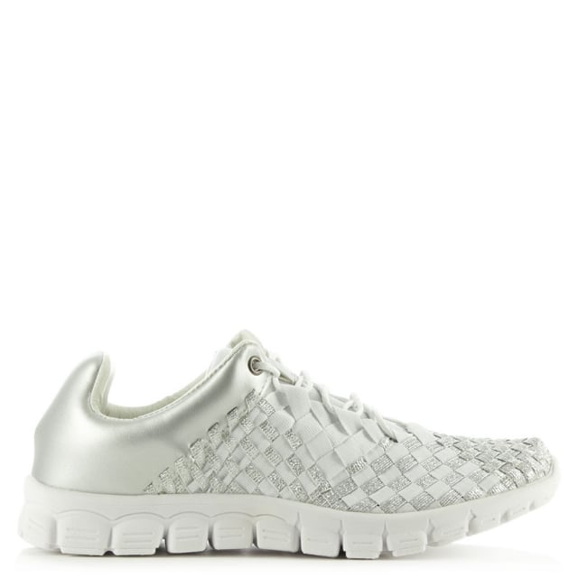 Hollywood Hills Silver Metallic Woven Elastic Trainer