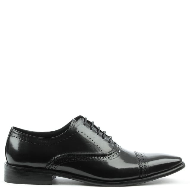 Holnest Black Leather Square Toe Brogue